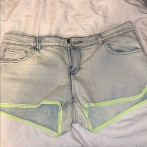 Short Shorts with Yellow Lining